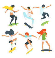 Man and woman skaters silhouettes vector