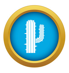 mexican cactus icon blue isolated vector image