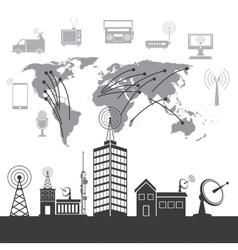 Modern city wireless technology vector