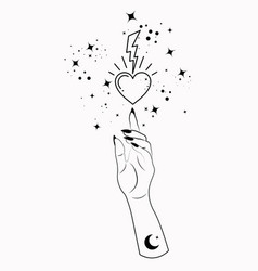 mystical woman hand alchemy esoteric sacred heart vector image