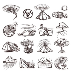 Natural Disaster Sketch Icon Set vector