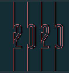 New year calendar logo 2020 number red stroke vector