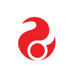 Number two circle red flame design logo vector