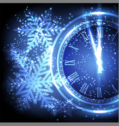 old clock holiday lights at new year midnight vector image