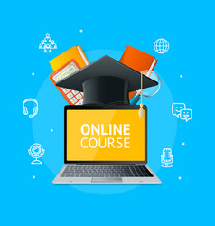 online course education concept with realistic vector image