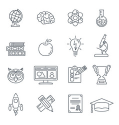 Online education thin lines web icon set vector