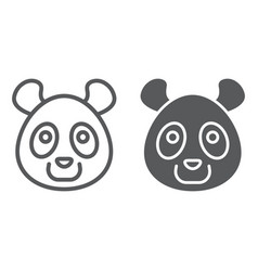 panda line and glyph icon animal and zoo bear vector image