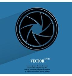Photo camera diaphragm flat modern web button vector