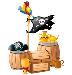 Pirate flag and treasure chest vector