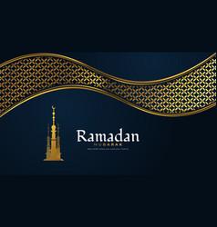 Ramadan kareem greeting with golden mosque vector