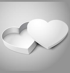 realistic blank white opened heart shape box vector image