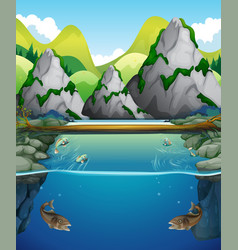 River scene with fish and mountain vector