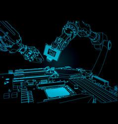 Robots assemble a computer vector