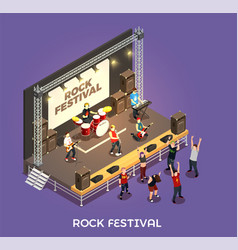 Rock festival isometric composition vector