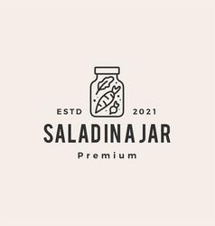 Salad in a jar hipster vintage logo icon vector