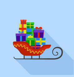 santa claus sleigh icon flat style vector image