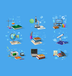 science and technology research equipment set vector image