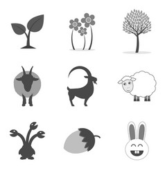 Set of nature icons and symbols in trendy flat vector