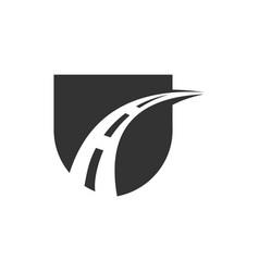 Sheild and a road logo template vector