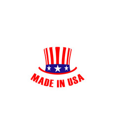 Sign with hat made in usa vector