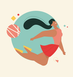Smiling woman flying at round geometric shape vector