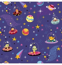 Space pattern with cute aliens vector