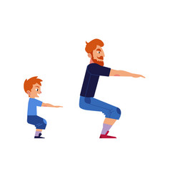 Sport family concept with father and son doing vector