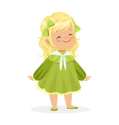 sweet smiling little girl dressed in green dress vector image