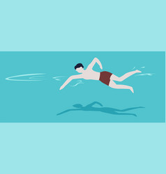Swimming pool swimmer in trunks summer outdoor vector