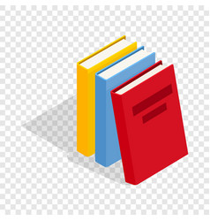 Three books isometric icon vector