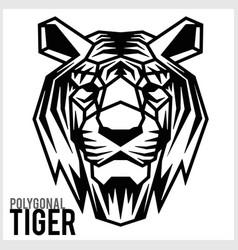 tiger head in polygonal style polygonal animals vector image