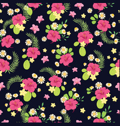Tropical flowers ditsy seamless pattern design vector