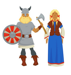 Vikings man and woman in traditional clothing vector