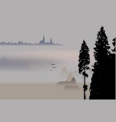 Village valley surrounding fog vector