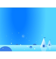 Wallpaper Arctic Landscape with Yurt and Moon vector