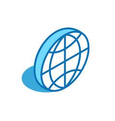 World isometric icon global map globe 3d line vector