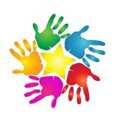 Hands print in vivid colors logo vector image vector image
