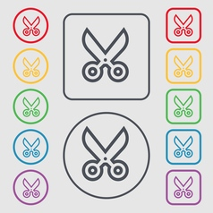 Scissors icon sign symbol on the round and square vector