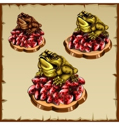 Three frog figurines sitting on ruby vector image vector image