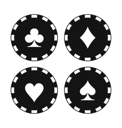 Card suit casino chips icons vector image vector image