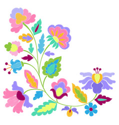fantasy flowers embroidery pattern vector image vector image