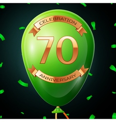 Green balloon with golden inscription seventy vector