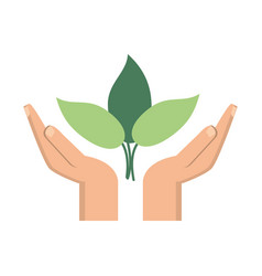hand plant environment icon vector image