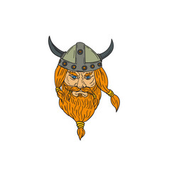 norseman viking warrior head drawing vector image vector image