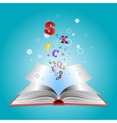 Opened book with letters vector image
