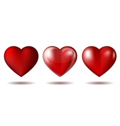 Set of Red heart icon isolated on white vector image