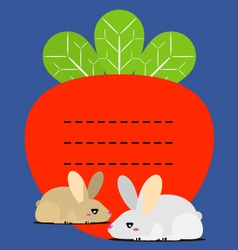 Cute little bunny and carrots recipe note vector image vector image