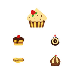 Flat cake set of pastry confectionery cupcake vector