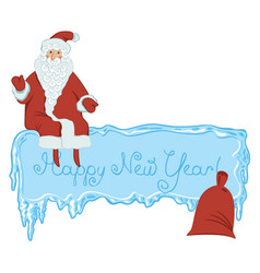icy frame with lettering santa claus and gift bag vector image vector image