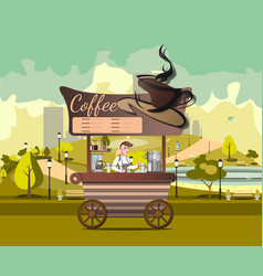 kiosk tent or coffee shop with coffee maker in vector image vector image